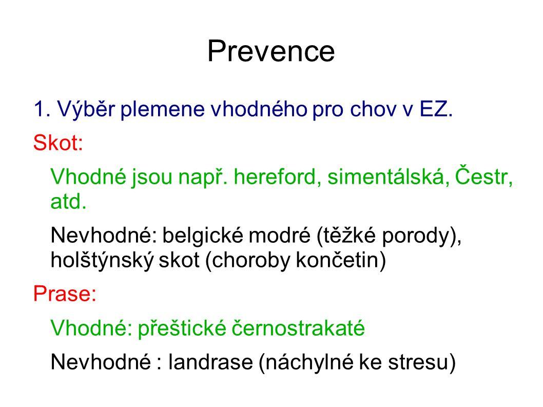 Prevence 1. Výběr plemene vhodného pro chov v EZ. Skot: Vhodné jsou např. hereford, simentálská, Čestr, atd. Nevhodné: belgické modré (těžké porody),