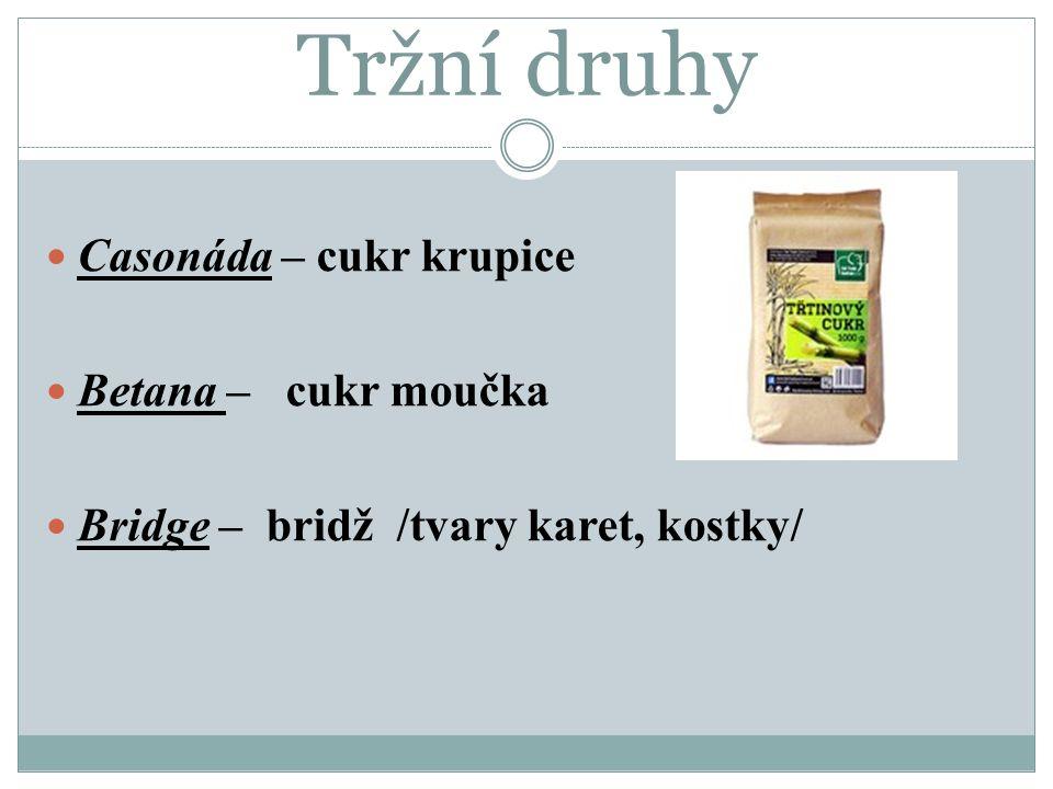 Tržní druhy Casonáda – cukr krupice Betana – cukr moučka Bridge – bridž /tvary karet, kostky/