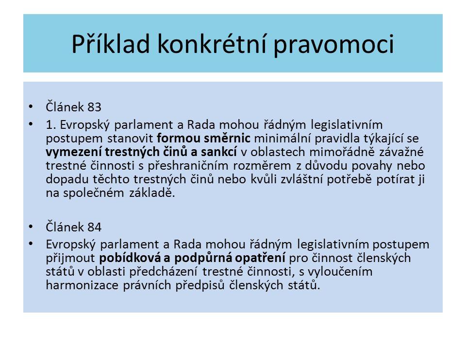 Příklad konkrétní pravomoci Článek 83 1. Evropský parlament a Rada mohou řádným legislativním postupem stanovit formou směrnic minimální pravidla týka