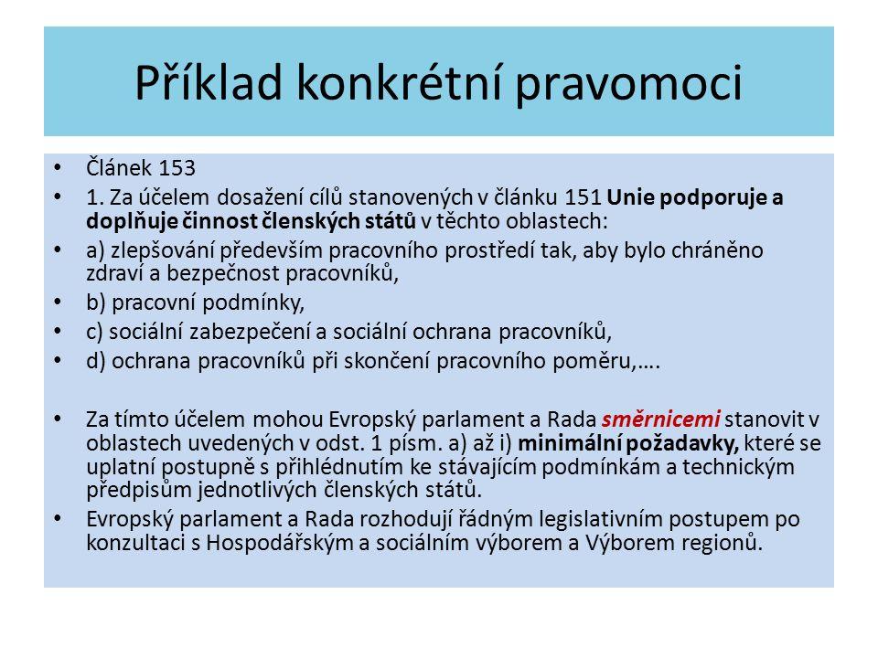 Příklad konkrétní pravomoci Článek 153 1. Za účelem dosažení cílů stanovených v článku 151 Unie podporuje a doplňuje činnost členských států v těchto