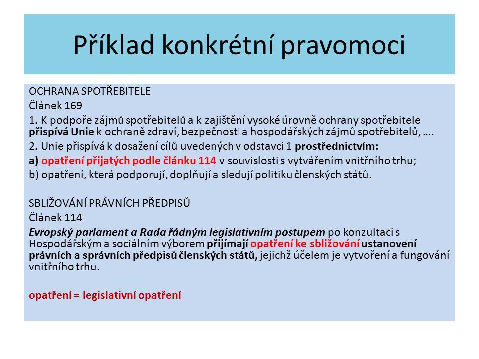 Příklad konkrétní pravomoci OCHRANA SPOTŘEBITELE Článek 169 1.