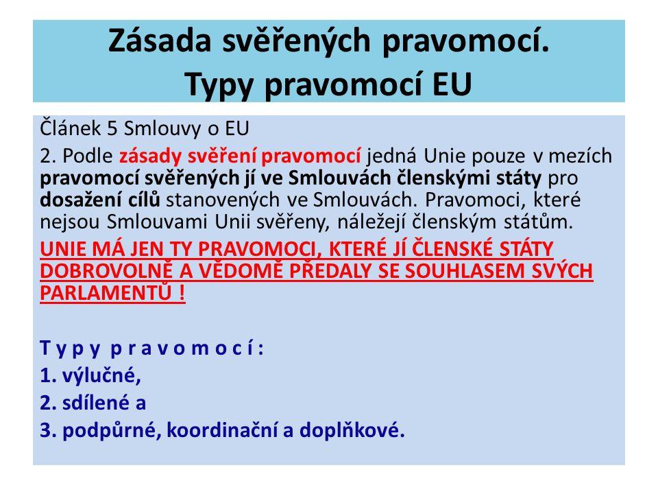 Zásada svěřených pravomocí. Typy pravomocí EU Článek 5 Smlouvy o EU 2. Podle zásady svěření pravomocí jedná Unie pouze v mezích pravomocí svěřených jí