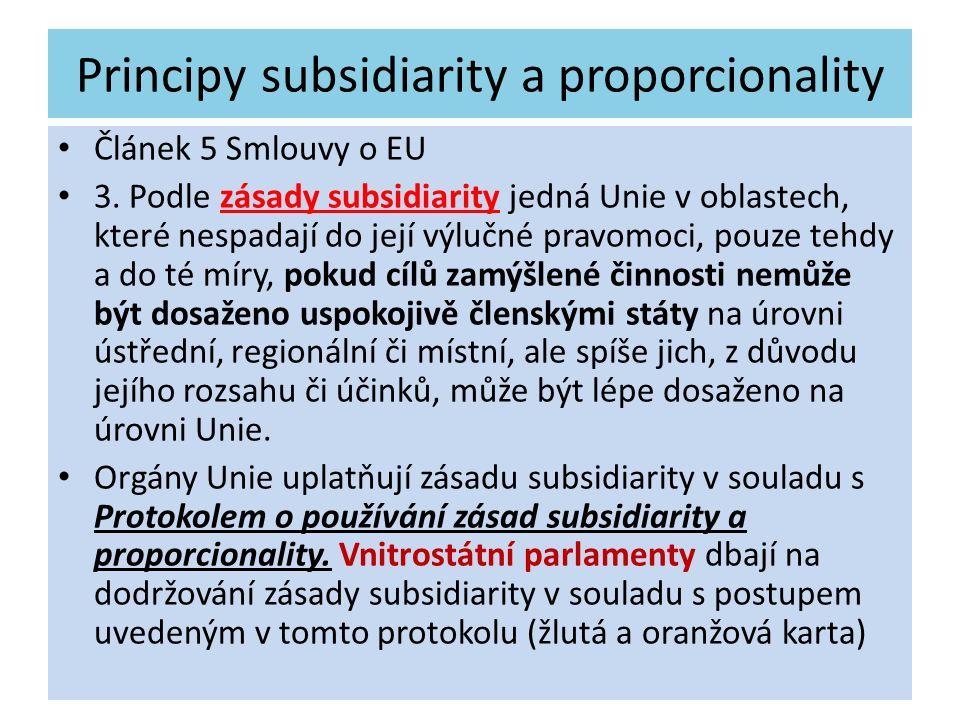 Principy subsidiarity a proporcionality Článek 5 Smlouvy o EU 3. Podle zásady subsidiarity jedná Unie v oblastech, které nespadají do její výlučné pra
