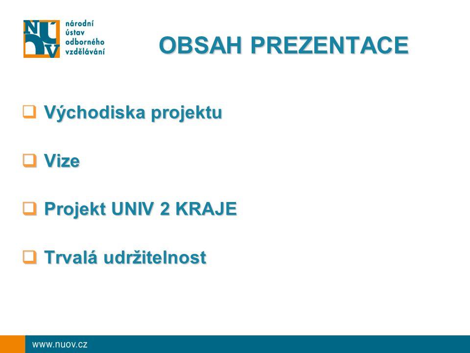  seznámit zástupce krajů a pedagogickou veřejnost s projektem veřejnost s projektem  vyvolat diskusi  diskutovat o realizaci projektu a udržitelnosti jeho výstupů a výsledků jeho výstupů a výsledků CÍL PREZENTACE