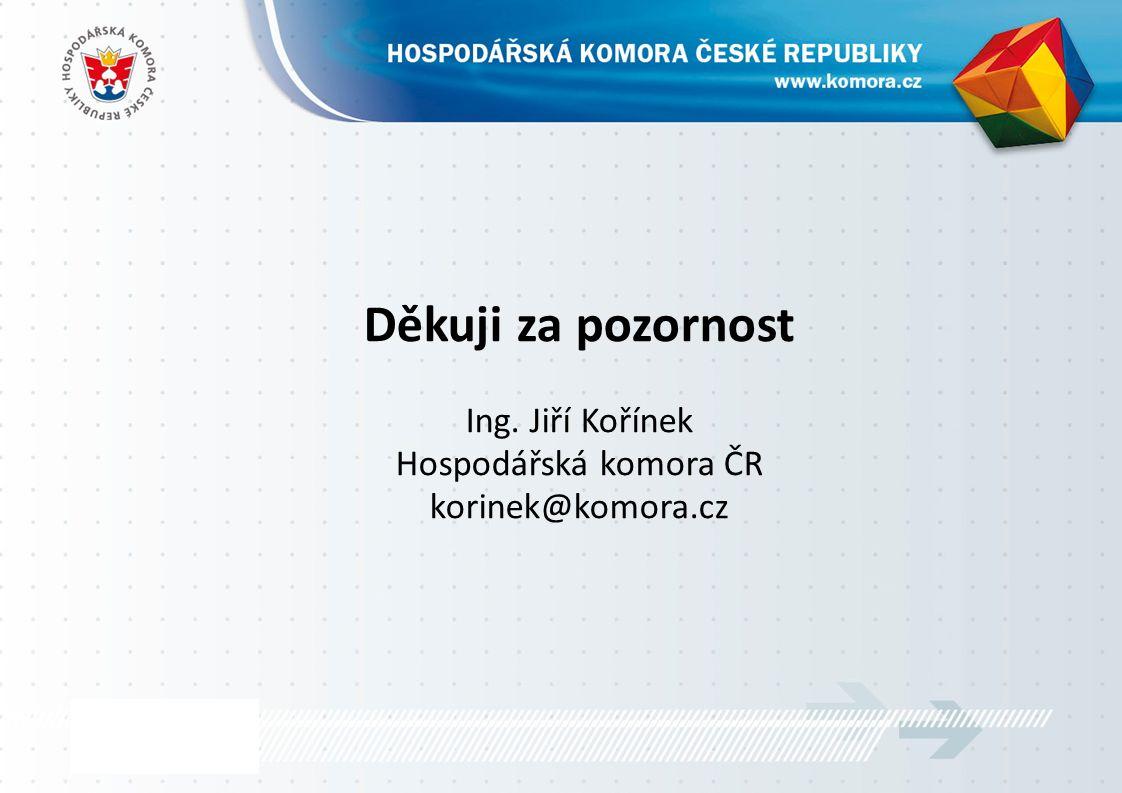 Děkuji za pozornost Ing. Jiří Kořínek Hospodářská komora ČR korinek@komora.cz