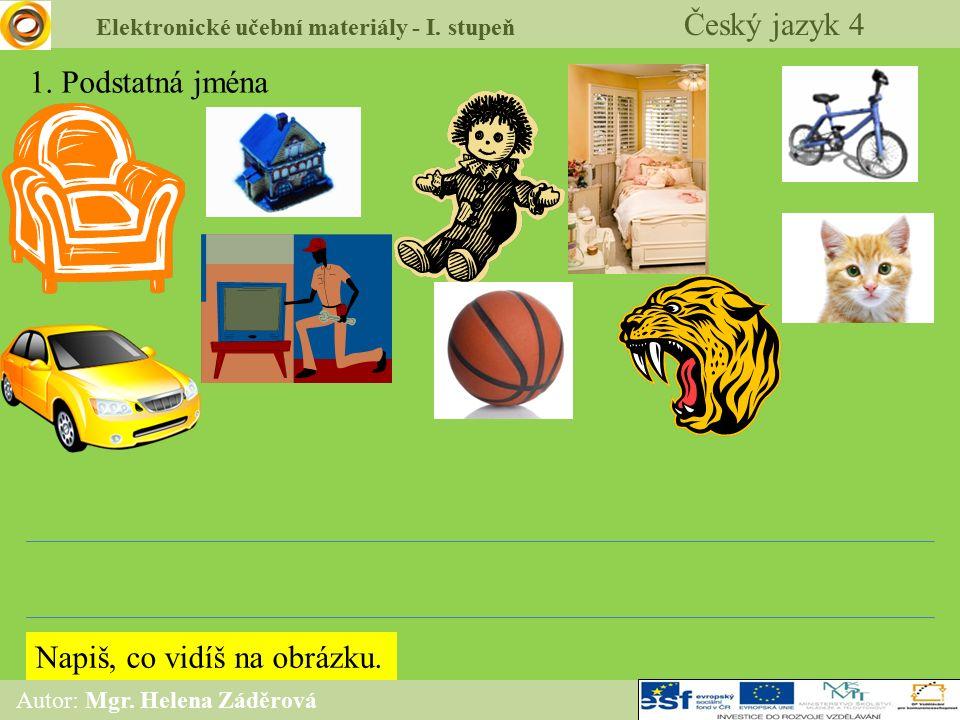 Elektronické učební materiály - I. stupeň Český jazyk 4 Autor: Mgr. Helena Záděrová 1. Podstatná jména Napiš, co vidíš na obrázku.