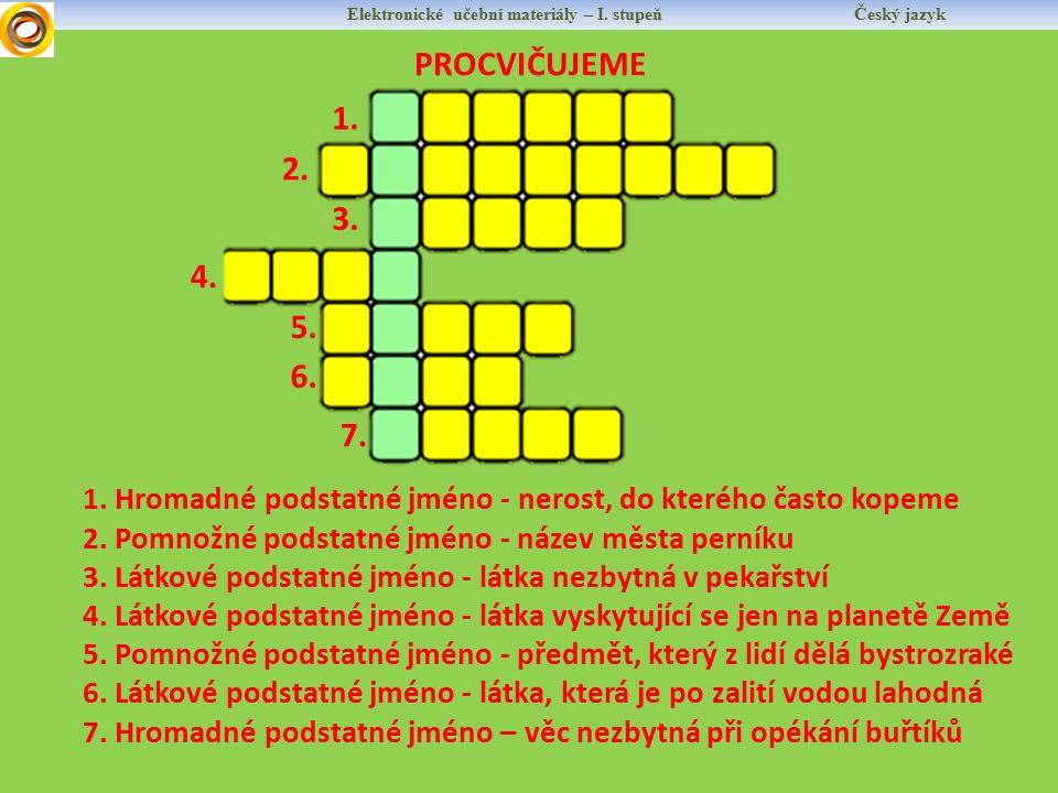 Elektronické učební materiály – I. stupeň Český jazyk PROCVIČUJEME 1.