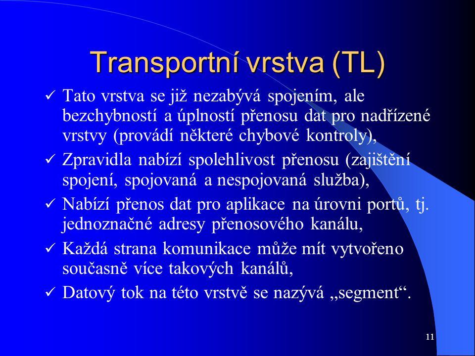 11 Transportní vrstva (TL) Tato vrstva se již nezabývá spojením, ale bezchybností a úplností přenosu dat pro nadřízené vrstvy (provádí některé chybové kontroly), Zpravidla nabízí spolehlivost přenosu (zajištění spojení, spojovaná a nespojovaná služba), Nabízí přenos dat pro aplikace na úrovni portů, tj.