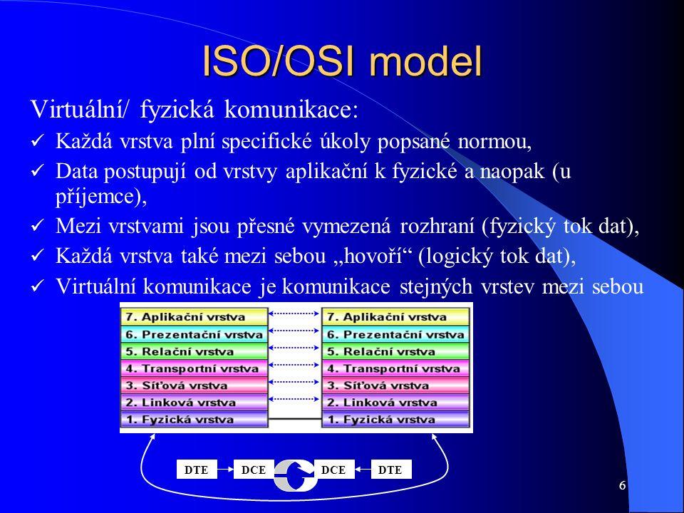 """6 ISO/OSI model Virtuální/ fyzická komunikace: Každá vrstva plní specifické úkoly popsané normou, Data postupují od vrstvy aplikační k fyzické a naopak (u příjemce), Mezi vrstvami jsou přesné vymezená rozhraní (fyzický tok dat), Každá vrstva také mezi sebou """"hovoří (logický tok dat), Virtuální komunikace je komunikace stejných vrstev mezi sebou DTEDCEDTEDCE"""