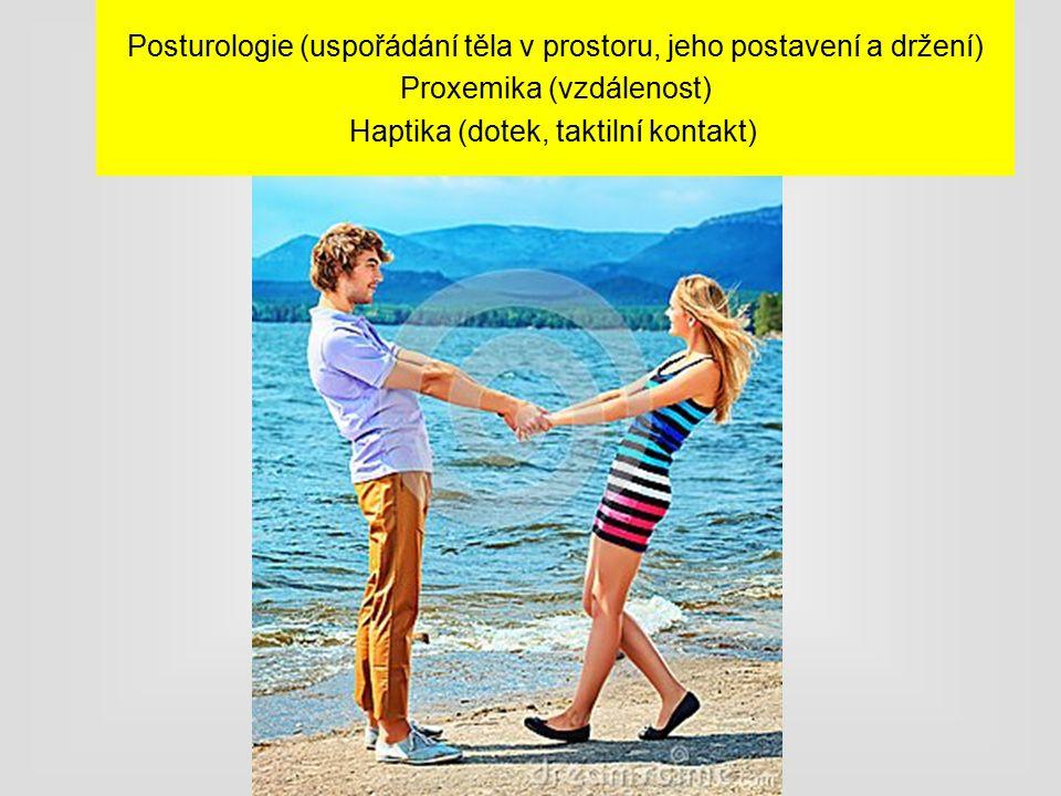 Posturologie (uspořádání těla v prostoru, jeho postavení a držení) Proxemika (vzdálenost) Haptika (dotek, taktilní kontakt)