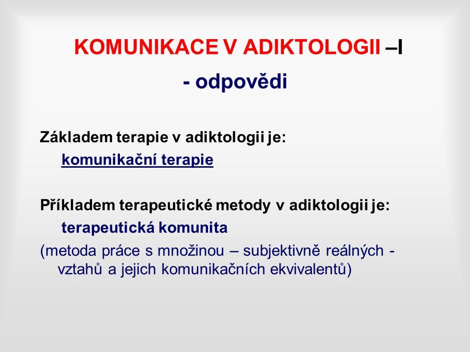 KOMUNIKACE V ADIKTOLOGII –I - odpovědi Základem terapie v adiktologii je: komunikační terapie Příkladem terapeutické metody v adiktologii je: terapeutická komunita (metoda práce s množinou – subjektivně reálných - vztahů a jejich komunikačních ekvivalentů)