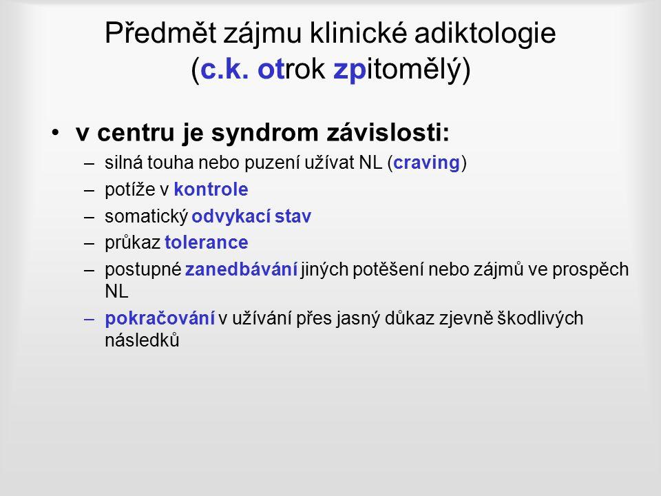 Předmět zájmu klinické adiktologie (c.k.