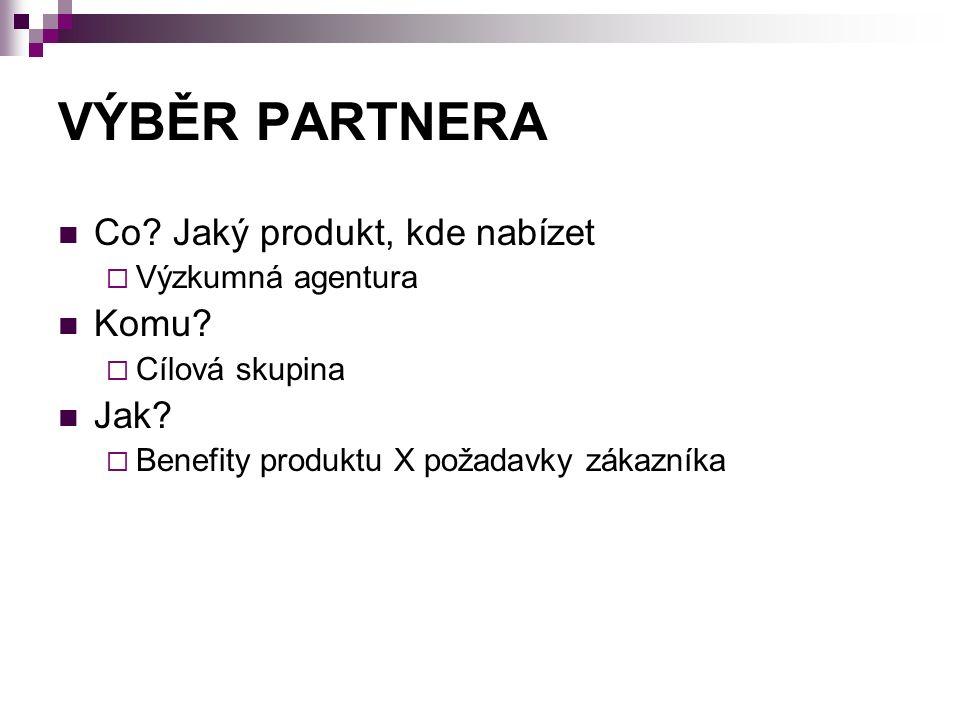 VÝBĚR PARTNERA Co. Jaký produkt, kde nabízet  Výzkumná agentura Komu.