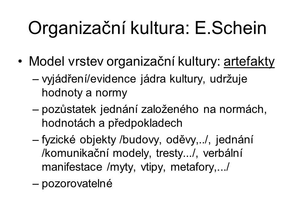 Organizační kultura: E.Schein Model vrstev organizační kultury: artefakty –vyjádření/evidence jádra kultury, udržuje hodnoty a normy –pozůstatek jednání založeného na normách, hodnotách a předpokladech –fyzické objekty /budovy, oděvy,../, jednání /komunikační modely, tresty.../, verbální manifestace /myty, vtipy, metafory,.../ –pozorovatelné