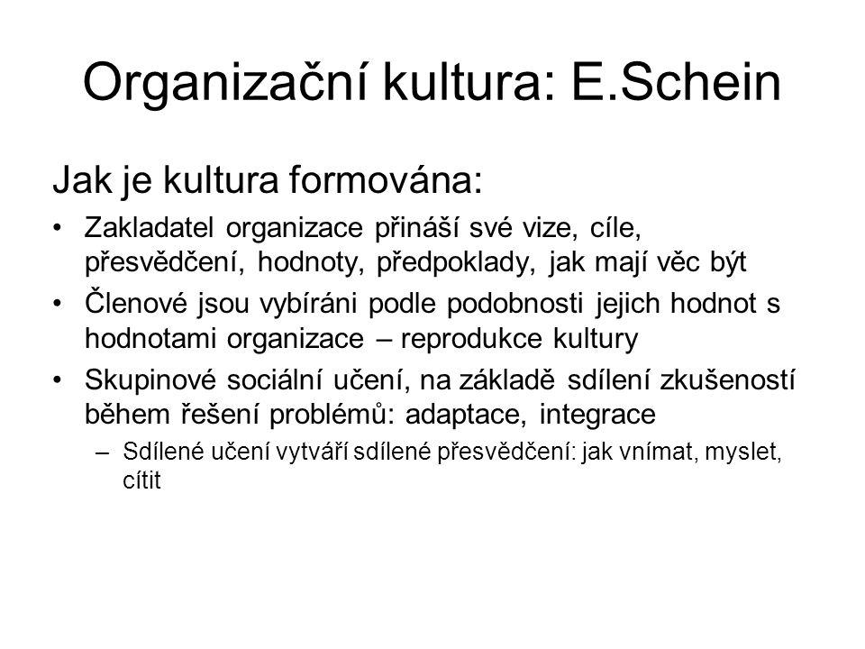 Organizační kultura: E.Schein Jak je kultura formována: Zakladatel organizace přináší své vize, cíle, přesvědčení, hodnoty, předpoklady, jak mají věc být Členové jsou vybíráni podle podobnosti jejich hodnot s hodnotami organizace – reprodukce kultury Skupinové sociální učení, na základě sdílení zkušeností během řešení problémů: adaptace, integrace –Sdílené učení vytváří sdílené přesvědčení: jak vnímat, myslet, cítit