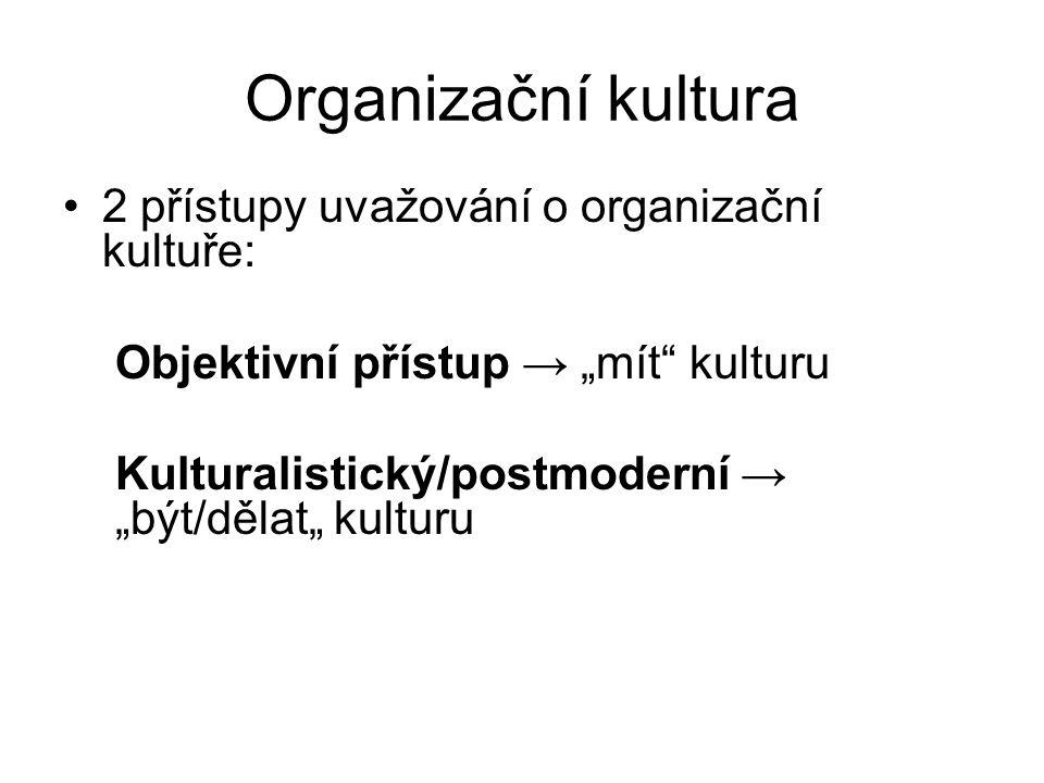 """Organizační kultura 2 přístupy uvažování o organizační kultuře: Objektivní přístup → """"mít"""" kulturu Kulturalistický/postmoderní → """"být/dělat"""" kulturu"""