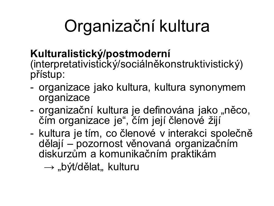 Organizační kultura Kulturalistický/postmoderní (interpretativistický/sociálněkonstruktivistický) přístup: -organizace jako kultura, kultura synonymem