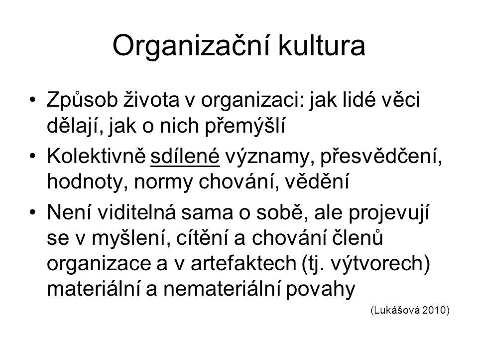 Organizační kultura Způsob života v organizaci: jak lidé věci dělají, jak o nich přemýšlí Kolektivně sdílené významy, přesvědčení, hodnoty, normy chování, vědění Není viditelná sama o sobě, ale projevují se v myšlení, cítění a chování členů organizace a v artefaktech (tj.