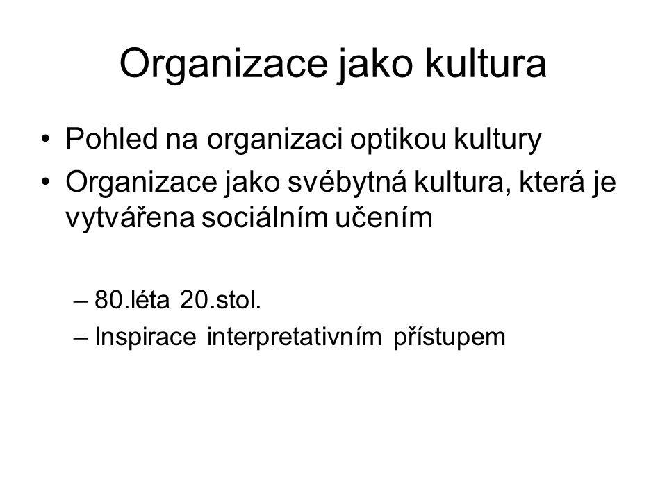 Organizace jako kultura Pohled na organizaci optikou kultury Organizace jako svébytná kultura, která je vytvářena sociálním učením –80.léta 20.stol.