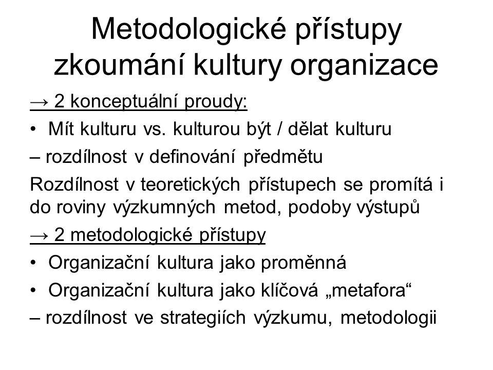 Metodologické přístupy zkoumání kultury organizace → 2 konceptuální proudy: Mít kulturu vs. kulturou být / dělat kulturu – rozdílnost v definování pře