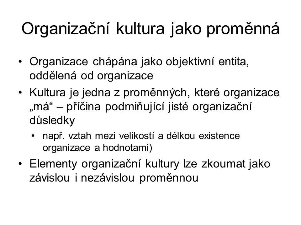"""Organizační kultura jako proměnná Organizace chápána jako objektivní entita, oddělená od organizace Kultura je jedna z proměnných, které organizace """"m"""