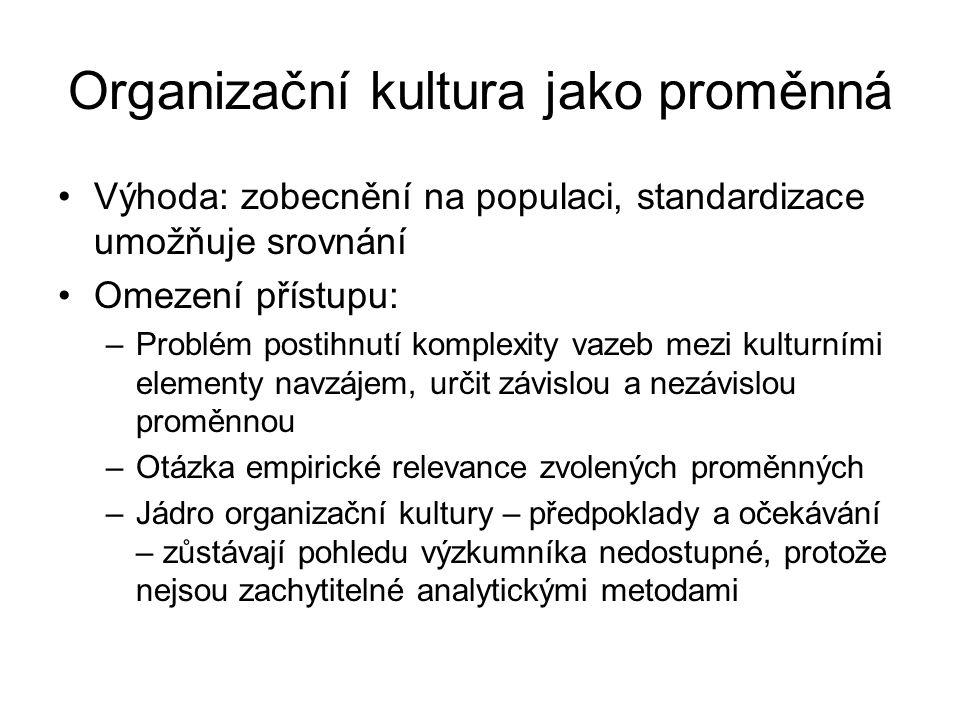 Organizační kultura jako proměnná Výhoda: zobecnění na populaci, standardizace umožňuje srovnání Omezení přístupu: –Problém postihnutí komplexity vaze