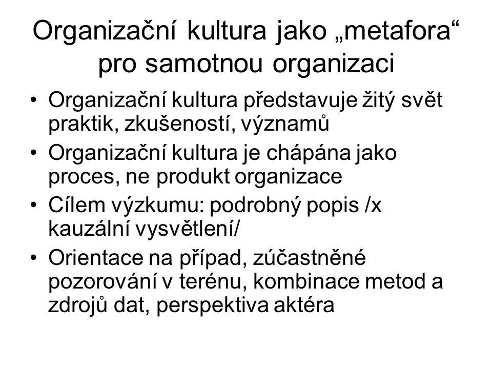 """Organizační kultura jako """"metafora"""" pro samotnou organizaci Organizační kultura představuje žitý svět praktik, zkušeností, významů Organizační kultura"""