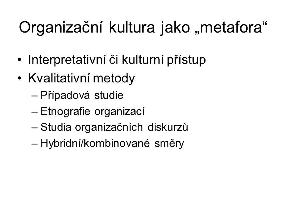 """Organizační kultura jako """"metafora Interpretativní či kulturní přístup Kvalitativní metody –Případová studie –Etnografie organizací –Studia organizačních diskurzů –Hybridní/kombinované směry"""
