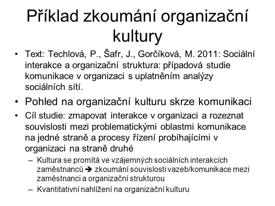 Příklad zkoumání organizační kultury Text: Techlová, P., Šafr, J., Gorčíková, M. 2011: Sociální interakce a organizační struktura: případová studie ko