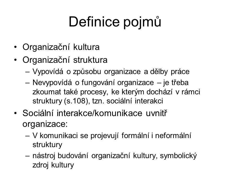 Definice pojmů Organizační kultura Organizační struktura –Vypovídá o způsobu organizace a dělby práce –Nevypovídá o fungování organizace – je třeba zkoumat také procesy, ke kterým dochází v rámci struktury (s.108), tzn.