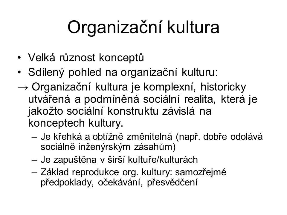 Organizační kultura Velká různost konceptů Sdílený pohled na organizační kulturu: → Organizační kultura je komplexní, historicky utvářená a podmíněná