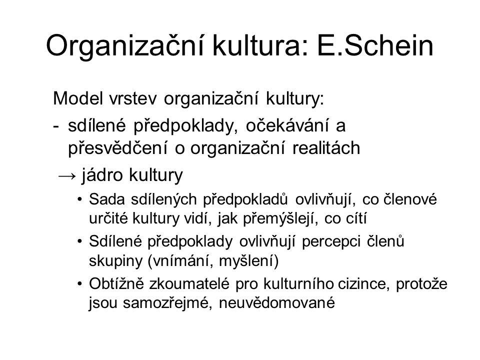 Organizační kultura: E.Schein Model vrstev organizační kultury: -sdílené předpoklady, očekávání a přesvědčení o organizační realitách → jádro kultury Sada sdílených předpokladů ovlivňují, co členové určité kultury vidí, jak přemýšlejí, co cítí Sdílené předpoklady ovlivňují percepci členů skupiny (vnímání, myšlení) Obtížně zkoumatelé pro kulturního cizince, protože jsou samozřejmé, neuvědomované