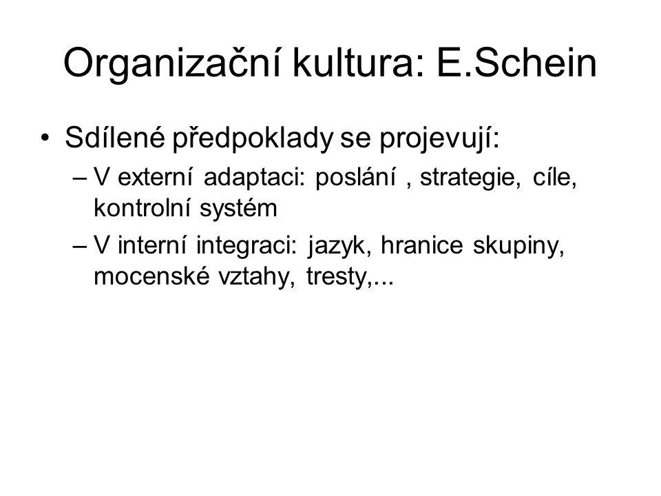 Organizační kultura: E.Schein Sdílené předpoklady se projevují: –V externí adaptaci: poslání, strategie, cíle, kontrolní systém –V interní integraci: