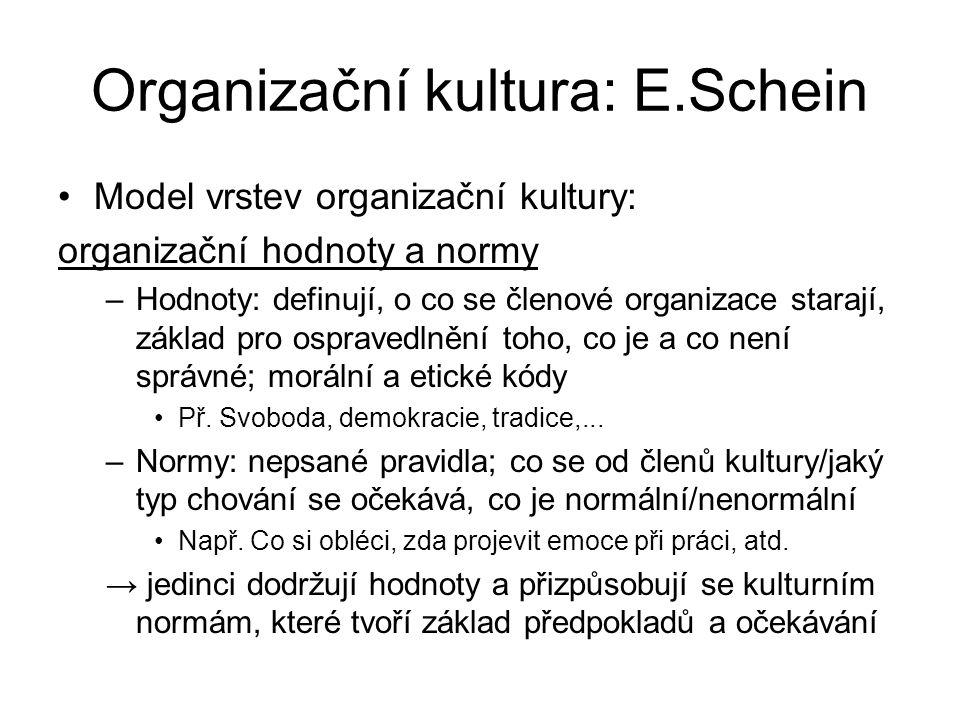 Organizační kultura: E.Schein Model vrstev organizační kultury: organizační hodnoty a normy –Hodnoty: definují, o co se členové organizace starají, základ pro ospravedlnění toho, co je a co není správné; morální a etické kódy Př.