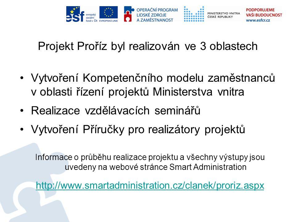 Projekt Proříz byl realizován ve 3 oblastech Vytvoření Kompetenčního modelu zaměstnanců v oblasti řízení projektů Ministerstva vnitra Realizace vzdělá