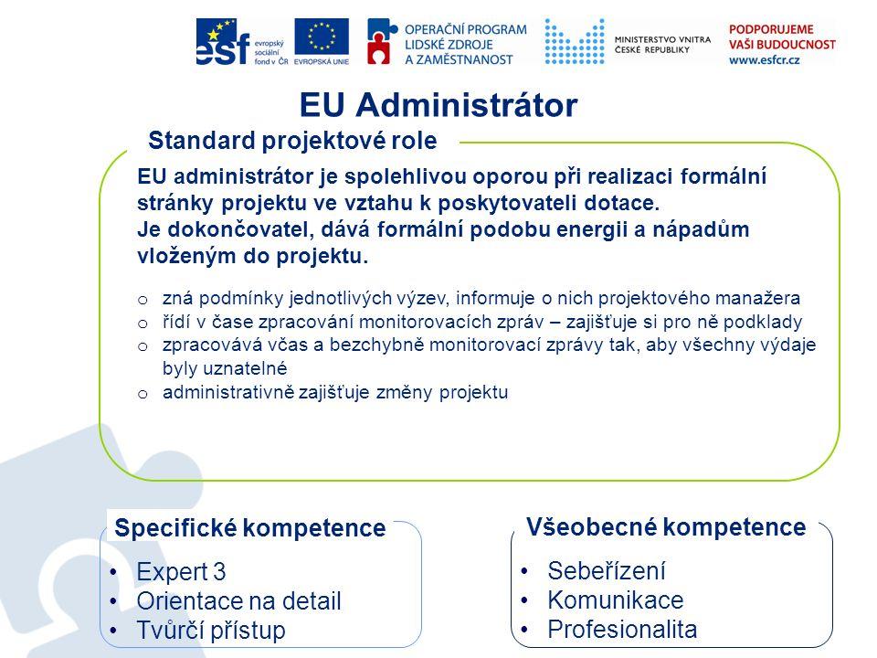EU Administrátor EU administrátor je spolehlivou oporou při realizaci formální stránky projektu ve vztahu k poskytovateli dotace. Je dokončovatel, dáv