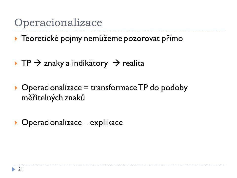 Operacionalizace 21  Teoretické pojmy nemůžeme pozorovat přímo  TP  znaky a indikátory  realita  Operacionalizace = transformace TP do podoby měřitelných znaků  Operacionalizace – explikace