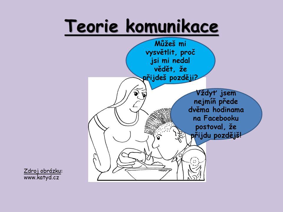 Teorie komunikace Doplňte odpovídající informace v souladu se situací z předchozího obrázku: Před dvěma hodinami vstupoval chlapec jako………..sdělení do komunikace se záměrem………………..Využil ale nevhodného komunikačního………,takže mu maminka, tedy…………sdělení, nemohla poskytnout…………Došlo mezi nimi tedy k…………Kdyby chlapec použil např…………….., byl by jistě v komunikaci s maminkou úspěšnější.