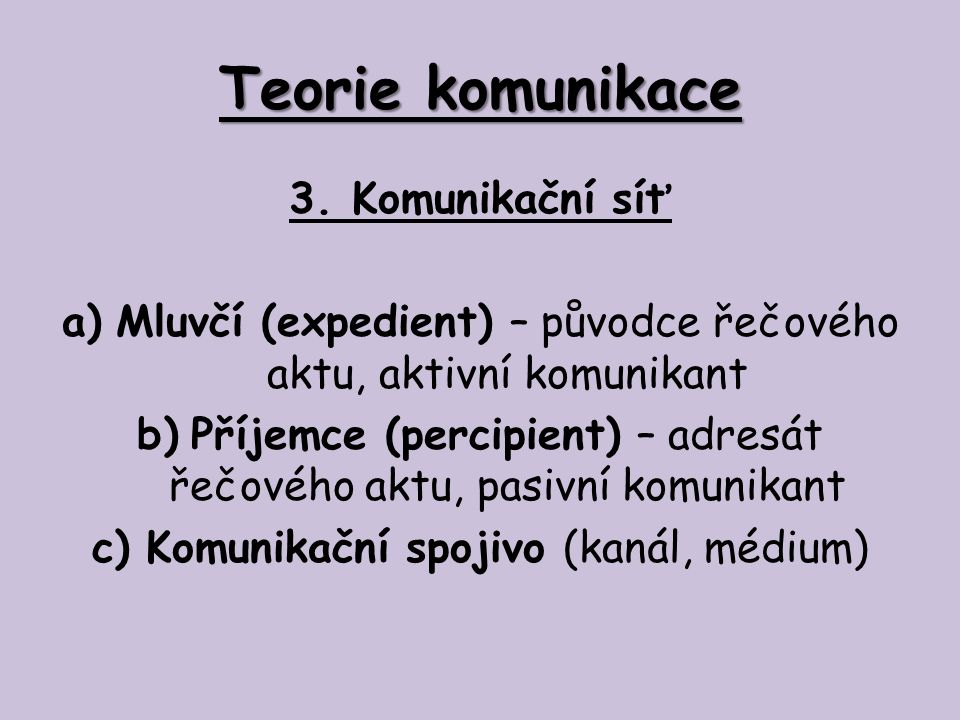 Teorie komunikace 4.