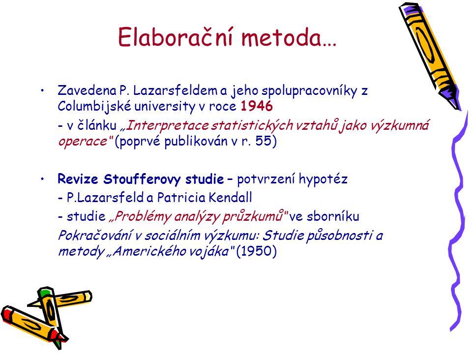 Elaborační metoda… Zavedena P.