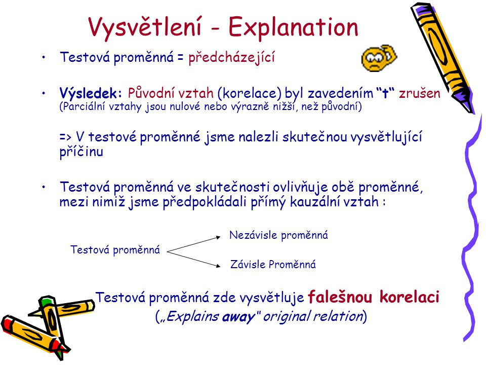 """Vysvětlení - Explanation Testová proměnná = předcházející Výsledek: Původní vztah (korelace) byl zavedením t zrušen (Parciální vztahy jsou nulové nebo výrazně nižší, než původní) => V testové proměnné jsme nalezli skutečnou vysvětlující příčinu Testová proměnná ve skutečnosti ovlivňuje obě proměnné, mezi nimiž jsme předpokládali přímý kauzální vztah : Nezávisle proměnná Testová proměnná Závisle Proměnná Testová proměnná zde vysvětluje falešnou korelaci (""""Explains away original relation)"""