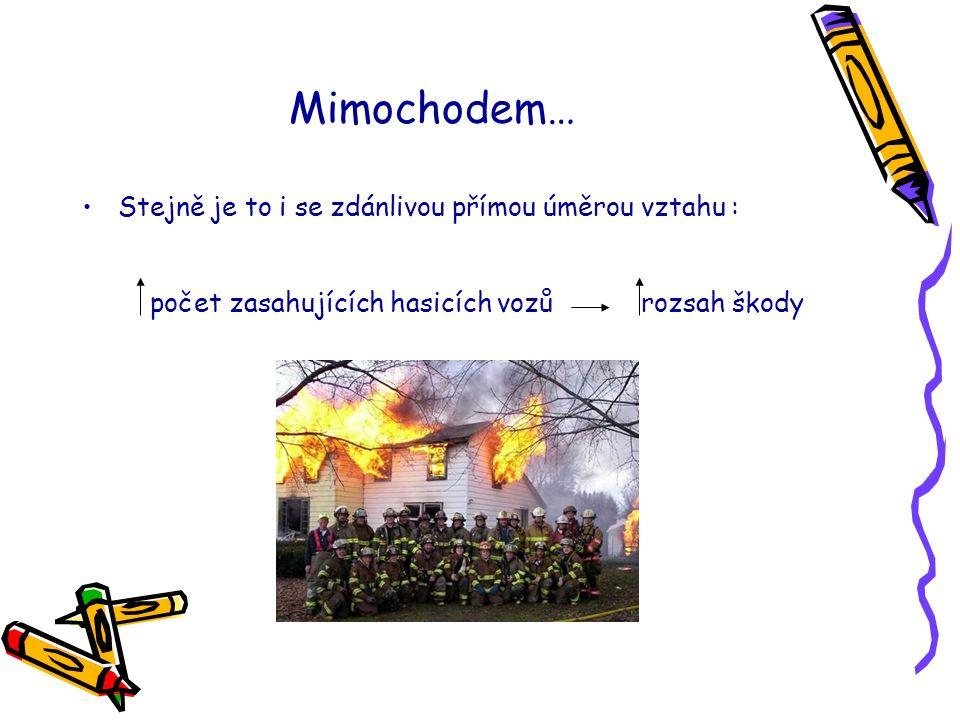 Mimochodem… Stejně je to i se zdánlivou přímou úměrou vztahu : počet zasahujících hasicích vozů rozsah škody