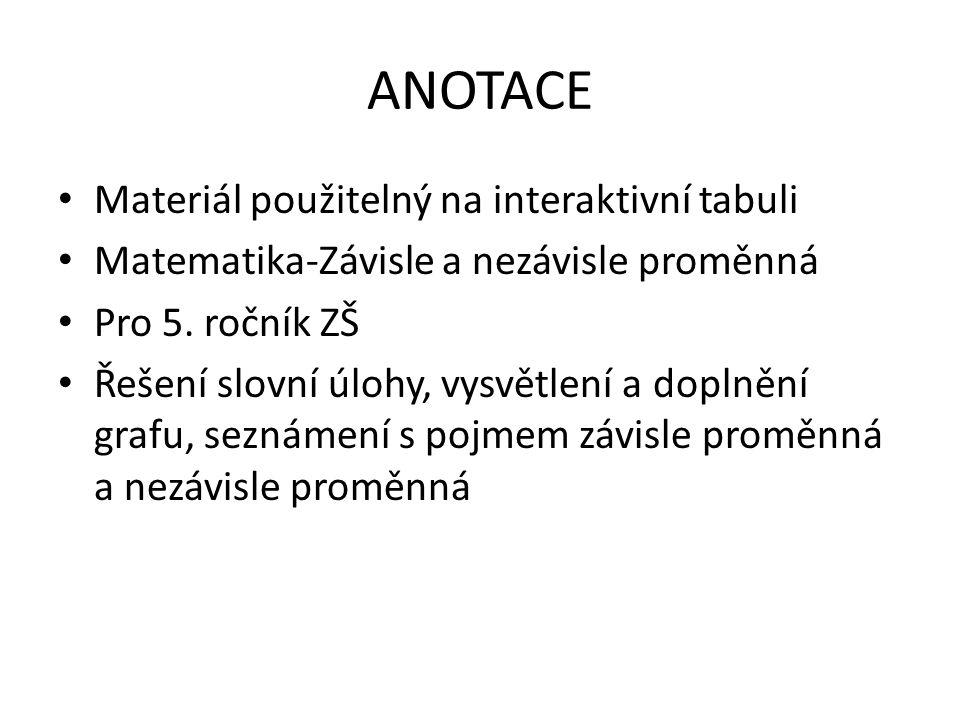 ANOTACE Materiál použitelný na interaktivní tabuli Matematika-Závisle a nezávisle proměnná Pro 5.
