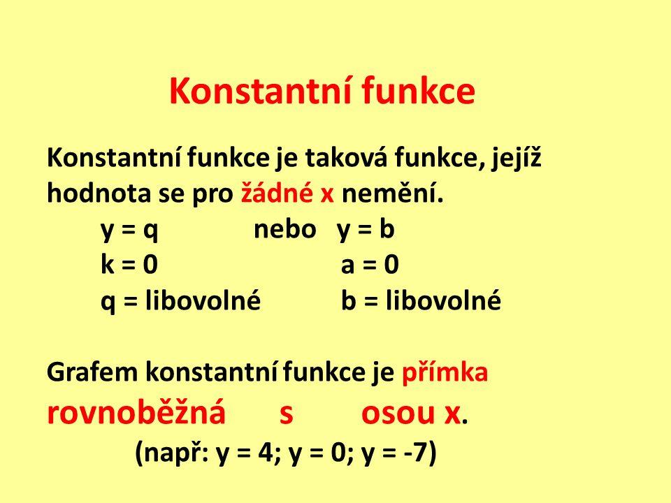 Konstantní funkce Konstantní funkce je taková funkce, jejíž hodnota se pro žádné x nemění. y = q nebo y = b k = 0 a = 0 q = libovolné b = libovolné Gr