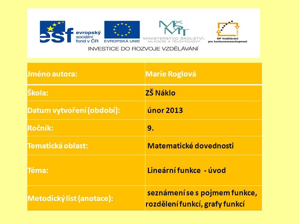 Jméno autora:Marie Roglová Škola:ZŠ Náklo Datum vytvoření (období): únor 2013 Ročník: 9.