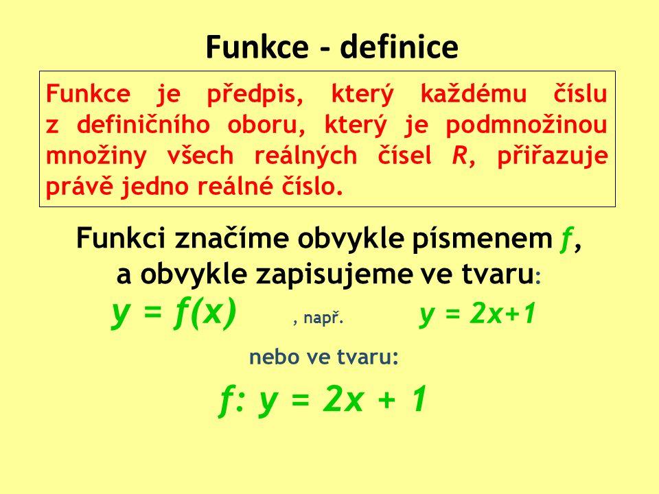 Funkce - definice Funkce je předpis, který každému číslu z definičního oboru, který je podmnožinou množiny všech reálných čísel R, přiřazuje právě jedno reálné číslo.