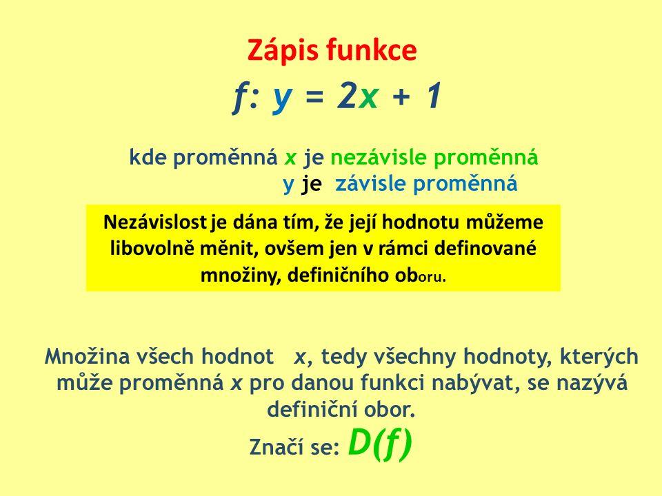 Zápis funkce f: y = 2x + 1 kde proměnná x je nezávisle proměnná y je závisle proměnná Množina všech hodnot x, tedy všechny hodnoty, kterých může promě