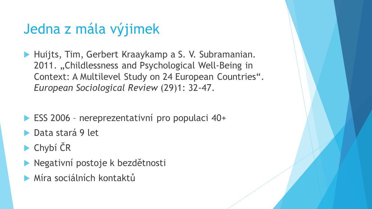 "Jedna z mála výjimek  Huijts, Tim, Gerbert Kraaykamp a S. V. Subramanian. 2011. ""Childlessness and Psychological Well-Being in Context: A Multilevel"