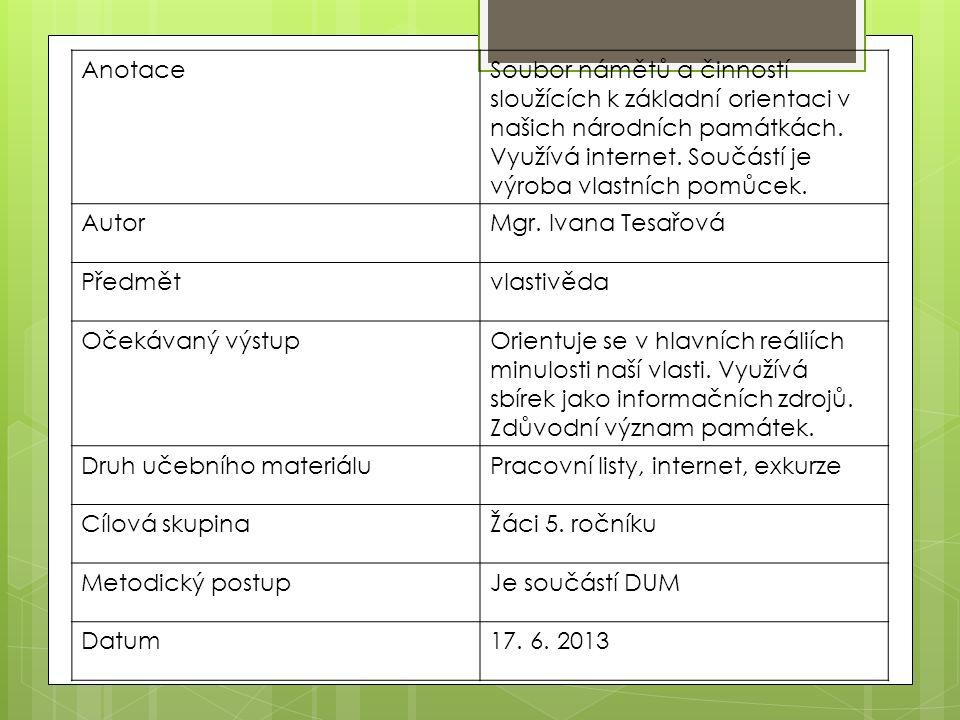 AnotaceSoubor námětů a činností sloužících k základní orientaci v našich národních památkách.