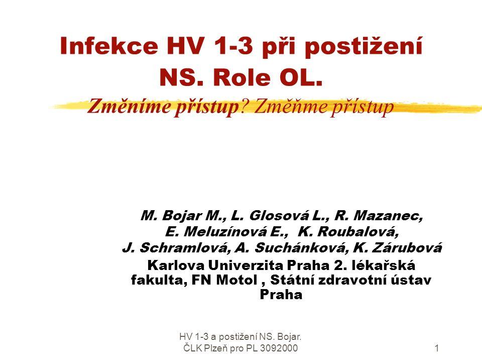 HV 1-3 a postižení NS.Bojar. ČLK Plzeň pro PL 30920001 Infekce HV 1-3 při postižení NS.